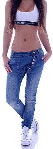 Style-Station Damen Boyfriend Jeans Boyfriendcut Hose Baggy Haremshose Chino Blau XS 34 S 36 M 38 L 40 XL 42 (S 36, Hellblau)