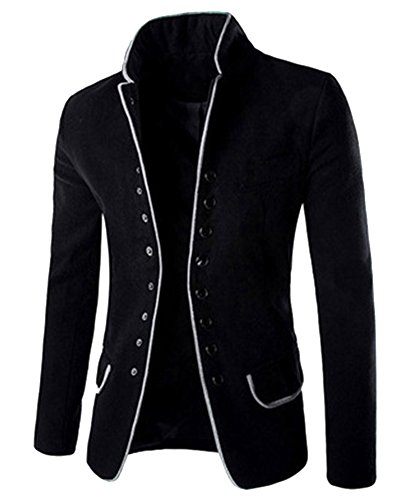 Herren Stehkragen Sakko Business Anzug Klassisch Knopf Slim Fit Blazer Büro Alltag Kurzmantel Haarig Tunika Jacke Mantel Outerwear Schwarz M