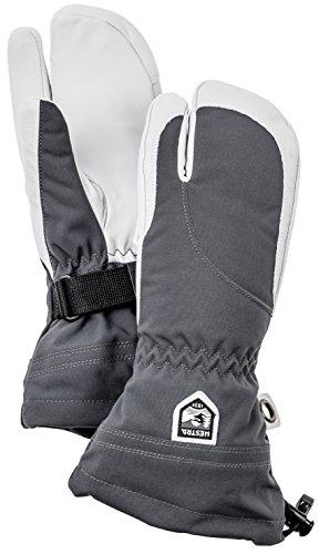Damen-profil-snowboard Handschuhe (Hestra Damen Leder Heli Ski und kaltem Wetter Drei-Finger-Handschuhe Unisex, damen, grau)