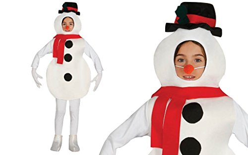 Schickes Schneemann Kostüm für Kinder Jungen und Mädchen mit Nase - komplettes Weihnachtskostüm Kinder Schneemann Kostüm Kind (128/134)