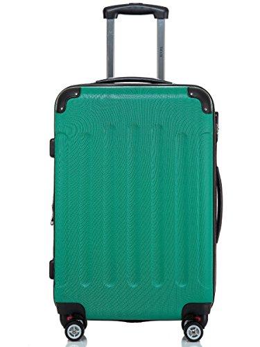 Reisekoffer / Trolley Gr. XL ABS Hartschale 360 Grad Zwillingsdoppelrollen mit TSA Schloß von Shaik-Smaragdgrün