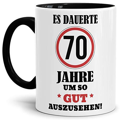 Geburtstags-Tasse 'Es dauerte 70 Jahre um so gut auszusehen' Innen & Henkel Schwarz /...
