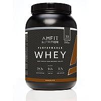 Marca Amazon - Amfit Nutrition Performance Proteína Whey de suero de leche (100% aislados de suero de leche), sabor chocolate 990 g