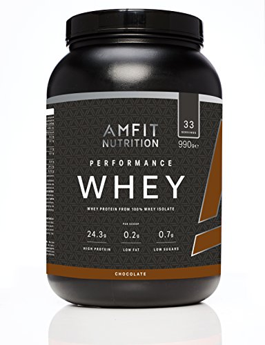 Marca Amazon   Amfit Nutrition Performance Proteína Whey de suero de leche (100% aislados de suero de leche), sabor chocolate 990 g