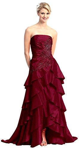 Abendkleider lang elegant Festkleid Abi-Ballkleid bodenlang Stufen-Volant Damen Abendmode für...