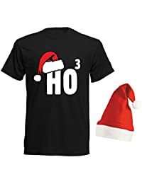 aprom T-Shirt Ho³ Nikolaus - T-Shirt mit Roter Mütze Weihnachten  Gruppenkostüm SC e4b62b4d81