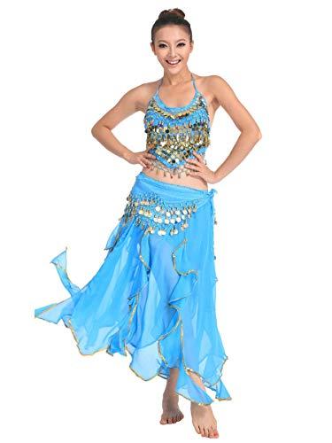 Womens Jasmin Kostüm - Grouptap Bollywood blau asiatischen indischen arabischen Jasmin Bauchtanz Kleid Kostüm 2-teilige Neckholder Top Rock Phantasie sexy Frauen Outfit (Hellblau, 150-175 cm, 40-70 kg)