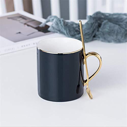 Normallackglasurbecher Keramikkaffeetasse Haushaltswassertasse mit großem Fassungsvermögen European Nordic simple Frühstückstasse blau