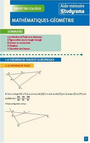 Mathématiques-géométrie : Brevet des collèges