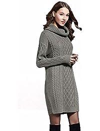 Boehner Señoras de Lana de Cuello de Tortuga Flojo Suave y cálido suéter suéter Puentes Vestido