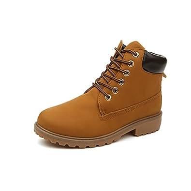 Chaussures de motard bottes de travail cheville CHNHIRA Chelsea rétro à lacets Martin  - Jaune - jaune,