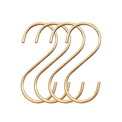 Anti-Rost Küchenhaken Hängehaken S-förmige Kleiderhaken Handtuchhaken Messing S Hanger für Küche Bad Kleider Kleiderbügel, Gold ()