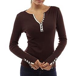 QinMM Mujer Camiseta con Mangas Largas Cuello V Camisa botón Blusa Jumper Pullover Sudadera Remata T-Shirt (Marrón, M)