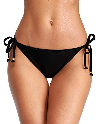 Sociala Damen Tie Side Bikini Bottoms Swoolid Swim Bottom-Badeanzug-Briefs X-Large Schwarz Scrunch-Kolben -