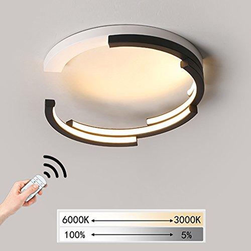 LED Dimmbar Lampe Deckenleuchte Schlafzimmerleuchte Modern Minimalistisch Deckenlampe Wohnzimmer Metall Acryl Ringe Design Leuchte Decke Beleuchtung mit Fernbedienung Esszimmer Büro Ø40*H13cm 27W