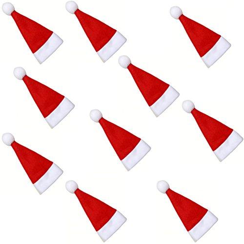 Fablcrew - Sacchetti portaposate da tavola a forma di cappello da Babbo Natale - 10 pezzi