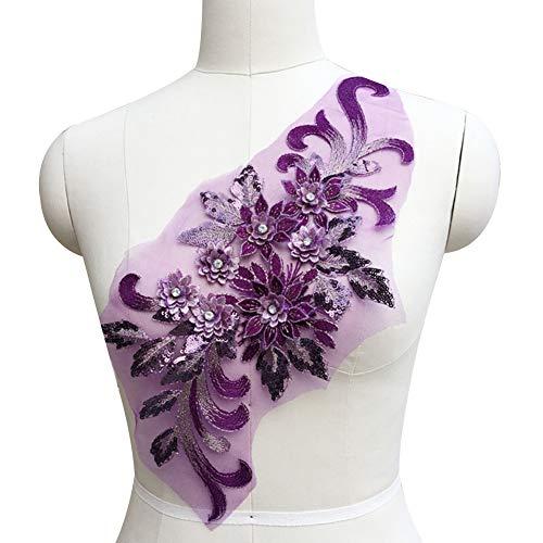 Muzhili3 Blume Pailletten Strass Motiv Trim Applique Hochzeitskleid DIY Nähen Stickerei Purple (Cinderella Kleid Diy)