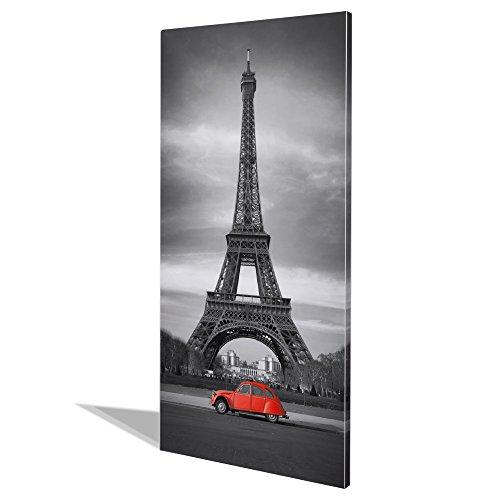 banjado Design Magnettafel groß | Magnetwand weiß 78x37cm weiß | Pinnwand magnetisch mit Magneten und Montageset | Magnetpinnwand mit Motiv Paris