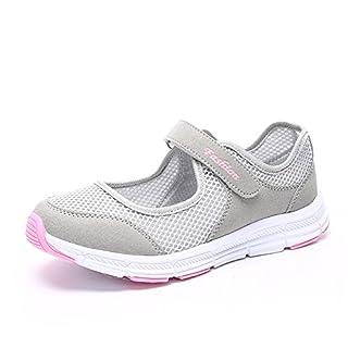 Damen Outdoor Fitnessschuhe Atmungsaktive Mesh Schuhe Sport Slipper mit Klettverschluss, Grau, 38 EU