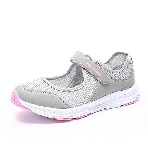 Damen Outdoor Fitnessschuhe Atmungsaktive Mesh Schuhe Sport Slipper mit Klettverschluss, Grau, 41 EU