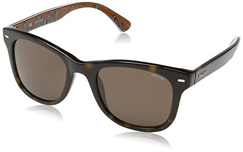 Police S1861 Skyline 2 Wayfarer Sonnenbrille, SHINY DARK HAVANA WITH INTERIOR SKYLINE PATTERN FRAME/BROWN LENS