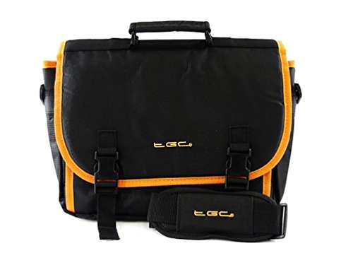 TGC ® ,  Umhängetasche Jet Black With Hot Orange Trims/Linings Screen Protector Jet