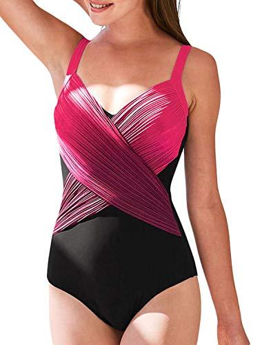 Aleumdr Mujer Traje de Baño Cuello V Bañador Cintura Alta Ropa de baño Sin  Mangas para efd7327ead451