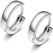 Onefeart Blanco Oro Plateado Clip Arete Circulo Forma Diseño para Mujeres Niña 8x10MM Plata