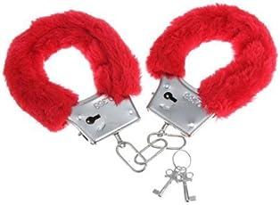 WOBBOX Furry Fuzzy Handcuffs Soft Metal Handcuffs Bachelorette Night Party Handcuffs(Red)
