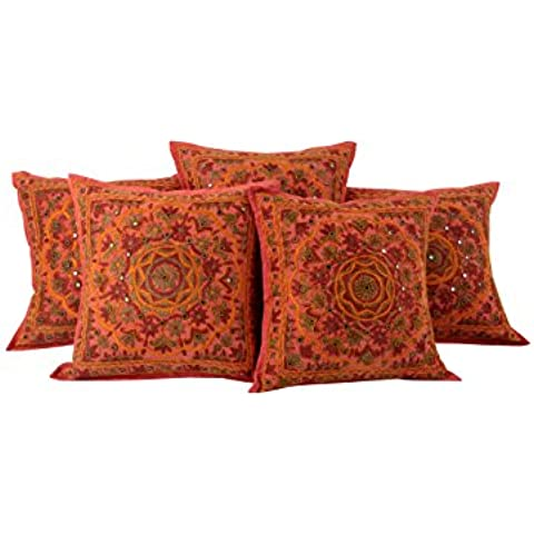 Coral rosado de la vendimia Conjunto de 5 Cojín único de la cubierta de 16x16 floral bordada fundas de almohada Almohada decorativa Throw algodón Por Rajrang