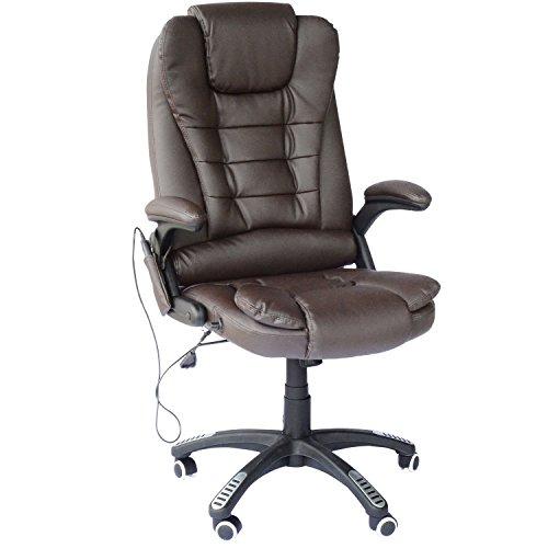 Homcom poltrona sedia massaggiante da ufficio con riscaldamento ecopelle 62 x 68 x 111-121cm poltrona massaggiante sedia da ufficio con riscaldamento regolabile in ecopelle 62 x 68 x 111-121cm marrone