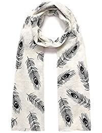 White & Black Feather Print Wide Scarf