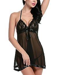 Bomshel Women Babydoll Lingerie Nightwear with Panty (Black, Free Size)