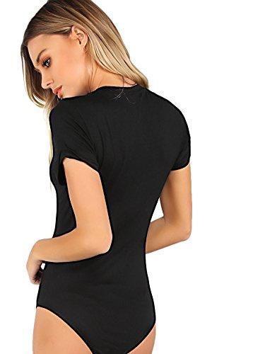 MAKEMECHIC Damen Kurzarm Tops Basic V-Ausschnitt Body Body Dessous - schwarz - Mittel - 2
