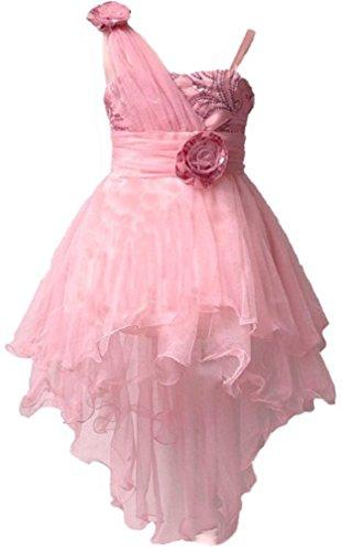 Glänzend Kleinkinder One Shoulder Pailletten Hochtief-Blume Mädchen Geburtstag Party Tutu Kleid Gr. 7 Jahre, Pink