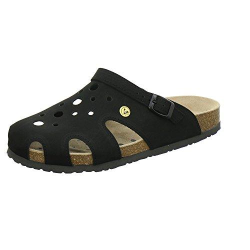 AFS-Schuhe 31993 ESD-Clogs, Bequeme Hausschuhe für Damen und Herren, praktische Arbeitsschuhe, echtes Leder Größe 43 EU Schwarz (schwarz)