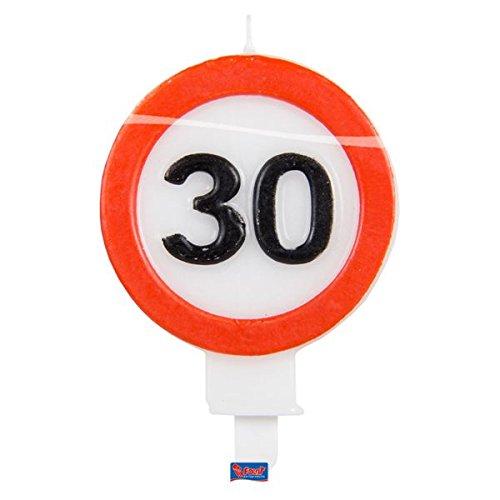 Folat Zahlenkerze * Verkehrsschild Zahl 30 * // Verkehrszeichen Geburtstagsk