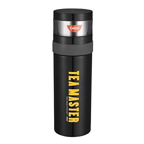 Debo Vakuum isolierte Reise Wasser/Kaffeetasse,doppelte ummauerte Edelstahl Trinkflasche mit 3 kleinen Schalen,die in der Kappe,im Freiensport Wasser Flasche mit Geschenk Paket versteckt wurden (Schwarz)