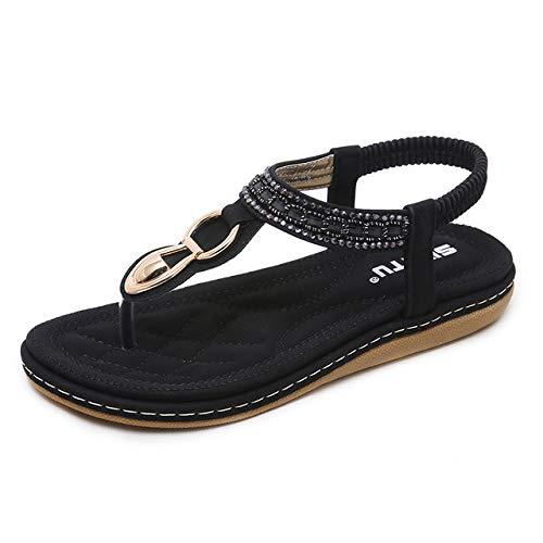 YAOkxin Damen Sandalen, Sommer Low Clip Toe Strand Schuhe Größe böhmischen Strass dekorative lässig Flip Flops, geeignet für den täglichen Gebrauch, zu Hause, Urlaub,Black,36