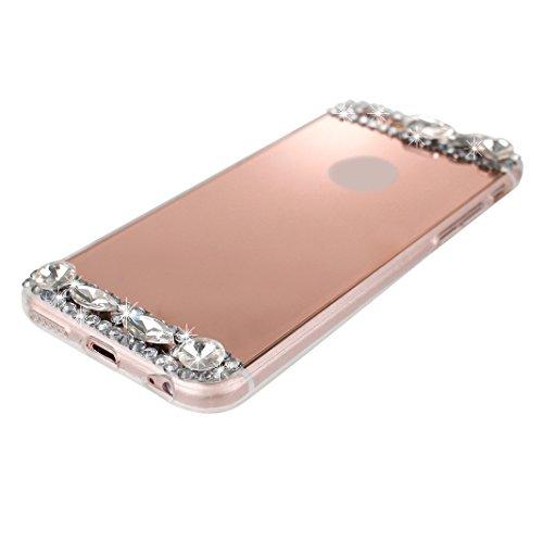 Custodia iPhone 6 Plus Specchio Cover in TPU Silicone, Caso iPhone 6S Plus Oro Bling Bumper, Moon mood® Mirror Effect Diamante Luccichio Scintillare Morbido TPU Cover Case per Apple iPhone 6 Plus 5.5  Rose Gold
