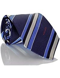 Versace Men's Multi Striped Woven Silk Necktie Navy Blue