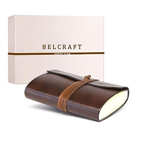 Tivoli Journal Intime / Carnet de Notes en cuir recyclé de fabrication artisanale Italienne, Cadeau Spécial, Journal de Voyage, Notebook (9x13 cm) Brun
