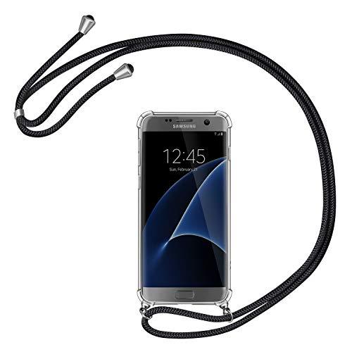 AROYI Handykette Handyhülle für Samsung Galaxy S7 Hülle mit Kordel zum Umhängen Necklace Hülle mit Band Schutzhülle Transparent Silikon Acryl Case für Samsung Galaxy S7 -Schwarz