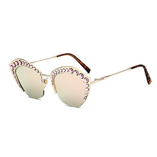Yiph-Sunglass Sonnenbrillen Mode Frauensonnenbrillen anmutige Kristallkatzenaugen übergroße Dame Sonnenbrille Metallrahmen UV-Schutz PC-Objektiv groß cool für das Fahren von Reisen (Farbe : Rosa)