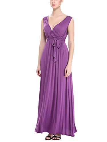 Aivtalk Damen Kleid Sommerkleid Sexy V-Ausschnitt Maxikleid Elegant Abendkleid Baumwolle Ärmellos Wählbare Größe Lila