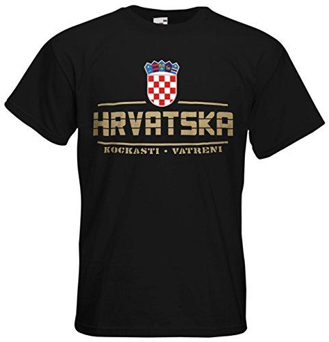 AkyTEX Kroatien Hrvatska EM 2016 Fanshirt T-Shirt Trikot (Schwarz, M)