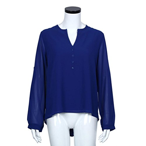 Bluestercool Damen Mode lose Chiffon Bluse Shirt Tops - Casual Langarm Bluse Blau