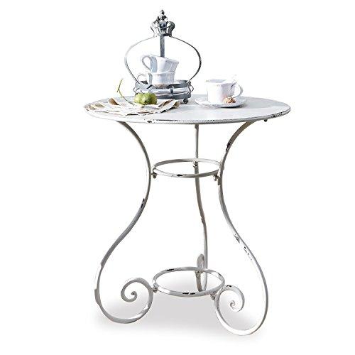 Loberon Tisch Iteuil, Eisen, H/Ø ca. 72/69,5 cm, antikweiß