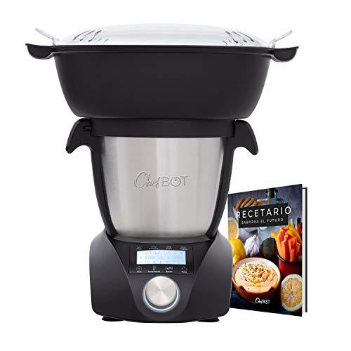 ikohs chefbot compact steampro - robot de cocina multifunción, cocina al vapor, 23 funciones, 10 velocidades con turbo, bol acero inoxidable 2,2 l, libre bpa (con vaporera y recetario - negro)