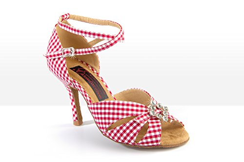 Exclusive Dance Shoes Tanzschuhe SUMMERTIME cherry kariert 75mm ultraschlank